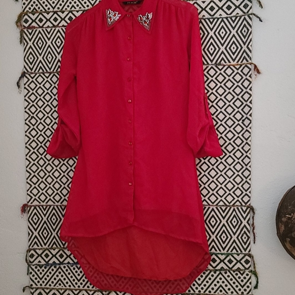 """Peach Tops - """"Peach """" Red long in back short in front blouse"""
